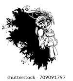 sad girl shaman hugging her...