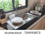 sink in kitchen room  modern... | Shutterstock . vector #709093873