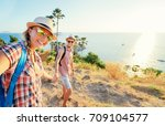 we love traveling and trekking  ... | Shutterstock . vector #709104577