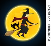halloween festival and... | Shutterstock .eps vector #709107607