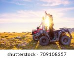 rear view of young pair near... | Shutterstock . vector #709108357