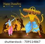 lord rama killing ravana during ...   Shutterstock .eps vector #709114867