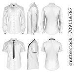 men's short and long sleeved... | Shutterstock .eps vector #709116787