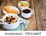 thanksgiving day breakfast....   Shutterstock . vector #709116847