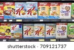 Small photo of Kuala lumpur, malaysia (5th september 2017) - Cereals on aisle for sale in a supermarket