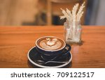 coffee cup and coffee beans on... | Shutterstock . vector #709122517