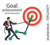 goal achievement. businessman... | Shutterstock .eps vector #709124377