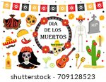 day of the dead mexican holiday ... | Shutterstock .eps vector #709128523