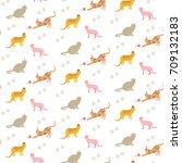 seamless pattern with little... | Shutterstock .eps vector #709132183