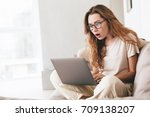 image of young shocked lady... | Shutterstock . vector #709138207