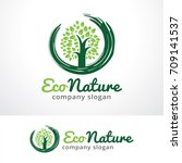 eco nature logo template design ... | Shutterstock .eps vector #709141537