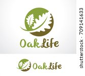 oak life logo template design... | Shutterstock .eps vector #709141633