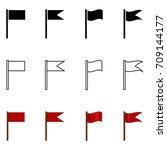 vector set of silhouette ... | Shutterstock .eps vector #709144177