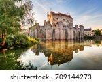 castle gravensteen in gent at... | Shutterstock . vector #709144273