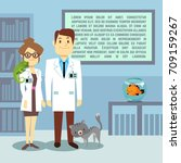 flat veterinary office with... | Shutterstock .eps vector #709159267