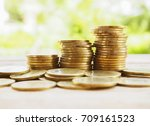 stack of money  rows of coins... | Shutterstock . vector #709161523