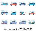 car icons in flat color style.... | Shutterstock .eps vector #709168753