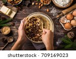 cooking christmas fruit cake. ... | Shutterstock . vector #709169023