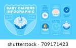 baby diapers infographic... | Shutterstock .eps vector #709171423