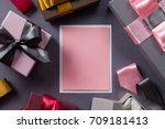 blank pink greeting card and a... | Shutterstock . vector #709181413