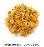top view of dried calendula...   Shutterstock . vector #709181593