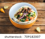 close up tasty doner kebab with ... | Shutterstock . vector #709182007