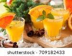 orange spicy vodka with thyme... | Shutterstock . vector #709182433