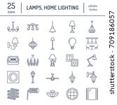 light fixture  lamps flat line... | Shutterstock .eps vector #709186057