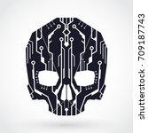 circuit board cyber skull symbol   Shutterstock .eps vector #709187743