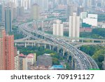 aerial view at city road and... | Shutterstock . vector #709191127