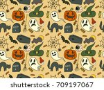 sketchy seamless pattern vector ... | Shutterstock .eps vector #709197067