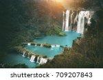 jiulong waterfall  nine dragon...   Shutterstock . vector #709207843