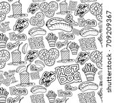 hand drawing fast food doodles... | Shutterstock .eps vector #709209367
