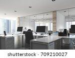 open space office environment... | Shutterstock . vector #709210027