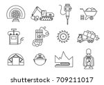 vector set of thin line icons... | Shutterstock .eps vector #709211017