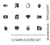 set of 12 multimedia icons set... | Shutterstock .eps vector #709216597