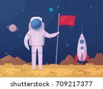 astronaut with flag after moon... | Shutterstock .eps vector #709217377
