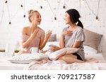 beautiful young asian women and ... | Shutterstock . vector #709217587