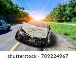 the car crashed down the road ...   Shutterstock . vector #709224967