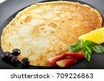 dessert in restaurant. pancake... | Shutterstock . vector #709226863