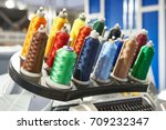 bobbins with colored thread for ... | Shutterstock . vector #709232347