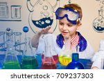 student doing research with... | Shutterstock . vector #709237303