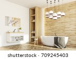 side view of a white and wooden ... | Shutterstock . vector #709245403