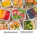 healthy meals and salads in... | Shutterstock . vector #709249327