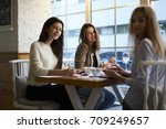 portrait of smiling young... | Shutterstock . vector #709249657