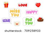 set of love sticker. flat and... | Shutterstock .eps vector #709258933