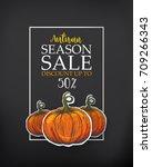 black poster for season sale.... | Shutterstock . vector #709266343