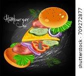 burger ingredients poster | Shutterstock .eps vector #709272877