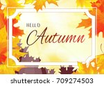 autumn background with white... | Shutterstock .eps vector #709274503