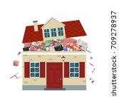 the concept of excessive ... | Shutterstock .eps vector #709278937